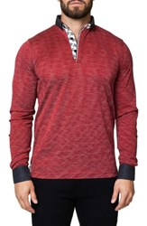 Maceoo Men's Stripe Long Sleeve Polo Medium Red