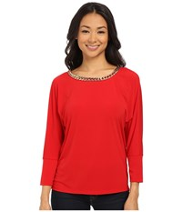Calvin Klein Dolman With Braid Chain Rouge Women's Clothing Red