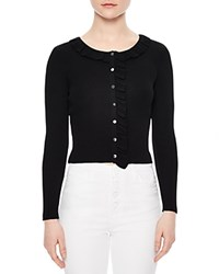 Sandro Revy Ruffle Trimmed Cardigan Black