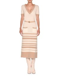 Agnona Short Sleeve Striped Boucle Midi Dress White Nude