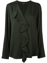 Theory Ruffle Front Blouse Green