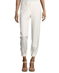 Halston Tapered Leg Double Face Pants White