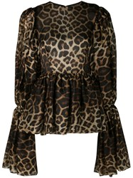 Christian Siriano Leopard Print Bell Sleeve Blouse Brown
