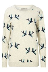 Sugarhill Boutique Graphic Birds Sweater Cream