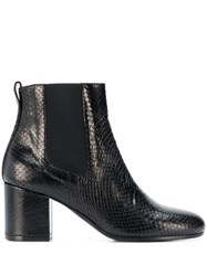 Via Roma 15 Snakeskin Effect Ankle Boots Black