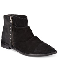 Charles By Charles David Brody Fold Over Zip Booties Women's Shoes Black Suede