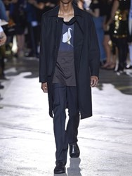 Raf Simons Nylon Trench Coat With Strap At Collar