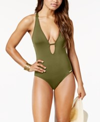 Vince Camuto Riviera Plunge Cheeky One Piece Swimsuit Women's Swimsuit Avocado