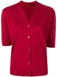 Aspesi Short Sleeved Cardigan Red