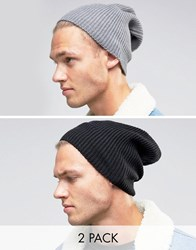 Asos Slouchy Beanie Hat 2 Pack In Black And Grey Multi