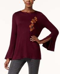 Cable And Gauge Embroidered Bell Sleeve Top Purple