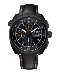 Tockr Watches Air Defender Leather Chronograph Watch Black