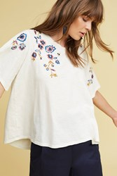 Anthropologie Fluttered Thistle Tee Cream