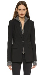 Veronica Beard Long And Lean Jacket With Melange Uptown Dickey Black Black White