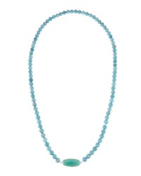 Elizabeth Showers Surfer Larimar Agate Beaded Necklace Silver