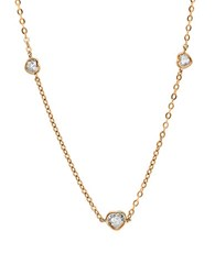 Crislu Hearts Rose Gold Plated And Cubic Zirconia Station Necklace