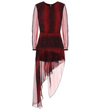 Amiri Printed Silk Midi Dress Red