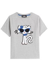 Karl Lagerfeld Cut Off Sleeve Choupette On The Beach Cotton Sweatshirt Grey