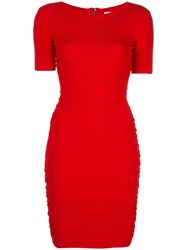 Milly Ruched Mini Dress Red