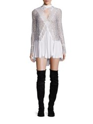 Free People Tell Tale Lace Keyhole Long Sleeve Tunic Ivory Black