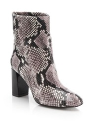 Tory Burch Devon Snake Embossed Leather Booties Black Tan