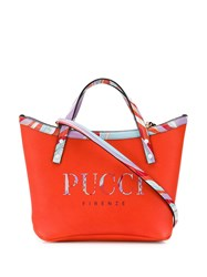 Emilio Pucci Burle Print Leather Twist Tote Bag Red