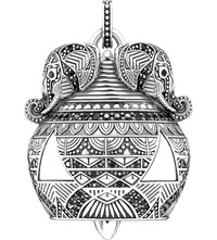 Thomas Sabo Filigree Elephant Sterling Silver And Black Zirconia Pendant