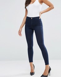 Asos Rivington High Waist Denim Jeggings In Bee Blackened Blue Dark Blue