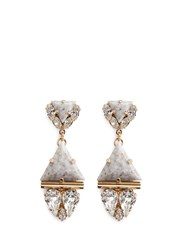 Anton Heunis Swarovski Crystal Vintage Stone Pendant Earrings White