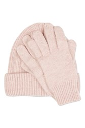 Topshop Cashmere Beanie And Glove Set Pale Pink