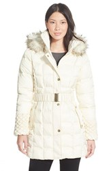 Women's Betsey Johnson Faux Fur Trim Belted Puffer Coat Ivory