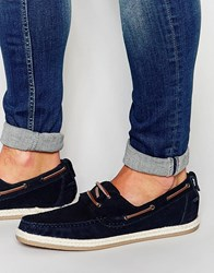 Asos Boat Shoes In Navy Suede With Jute Wrap Sole Navy