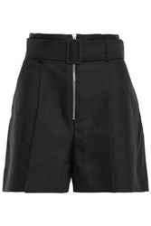 Sandro Woman Belted Cotton Blend Twill Shorts Black