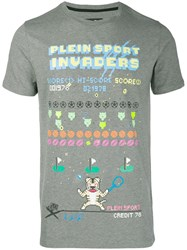 Plein Sport Logo Graphic Print T Shirt Grey