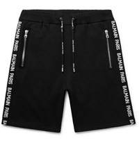 Balmain Slim Fit Logo Jacquard Loopback Cotton Jersey Shorts Black