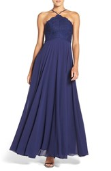 Lulus Women's Lulu's High Neck Lace And Chiffon Gown Navy