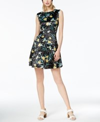 Bar Iii Printed Fit And Flare Dress Created For Macy's Dark Tropical