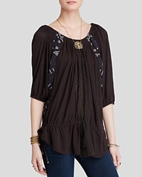 Free People Tunic New World Jersey Butterfly Washed Black