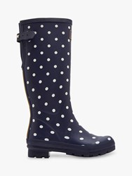 Joules French Spot Waterproof Rubber Wellington Boots Navy