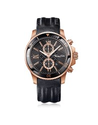 Thomas Sabo Men's Watches Rebel Race Rose Gold Stainless Steel Men's Chronograph Watch W Black Leather Strap