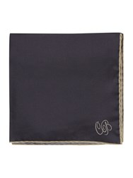 Chester Barrie Silk String Border Square Handkerchiefs Grey