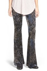 Sun And Shadow Print Velour Flare Leggings Black