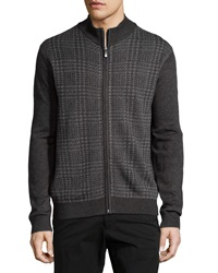 Neiman Marcus Plaid Zip Front Cardigan Shadow