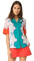 3.1 Phillip Lim Surf Floral Top White Turquoise