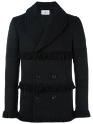 Ports 1961 Fringed Double Breasted Coat Black