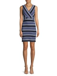 Molly Bracken Multi Striped Sheath Dress Navy Blue