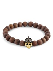 Tateossian Skull Bead Bracelet Brown