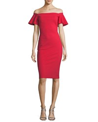 La Petite Robe Di Chiara Boni Anselma Off The Shoulder Flutter Sleeve Dress Red