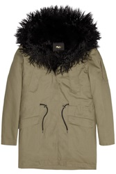 Maje Gondry Faux Fur Lined Cotton Twill Parka Green