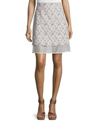 Giambattista Valli Floral Tweed Skirt With Organza Underlay Pink White Pink White